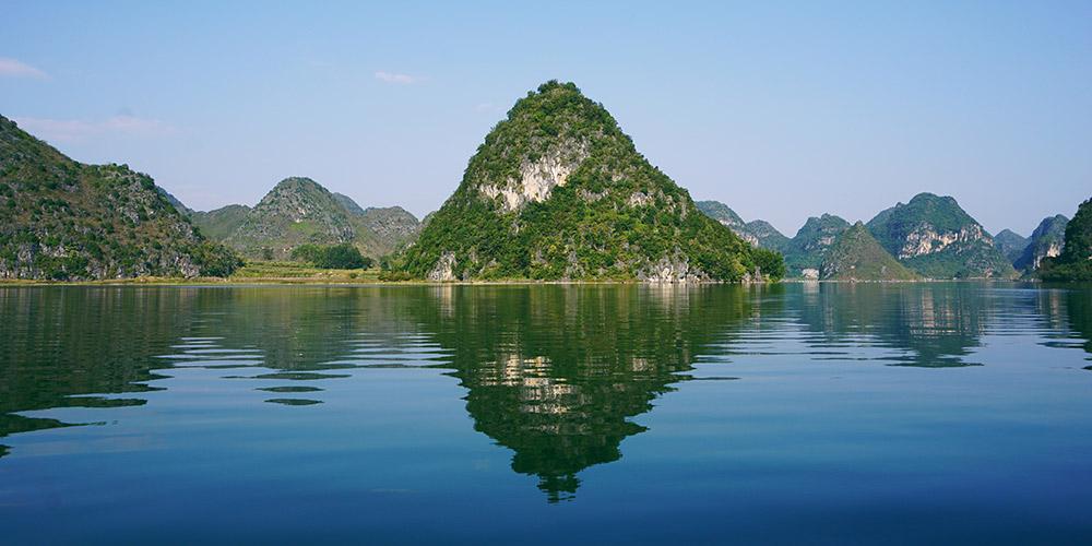 Paisagem do lago Quyang em Jingxi