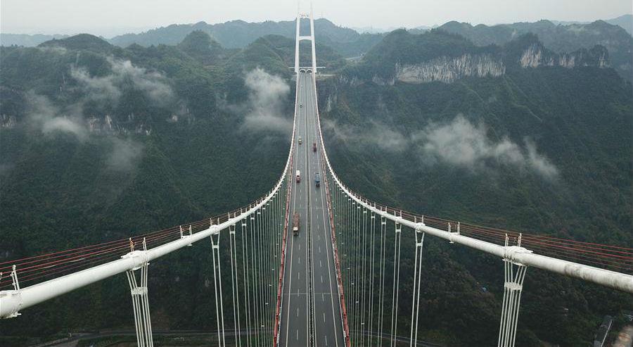 Fotos: Ponte suspensa Anzhai em Hunan, centro da China