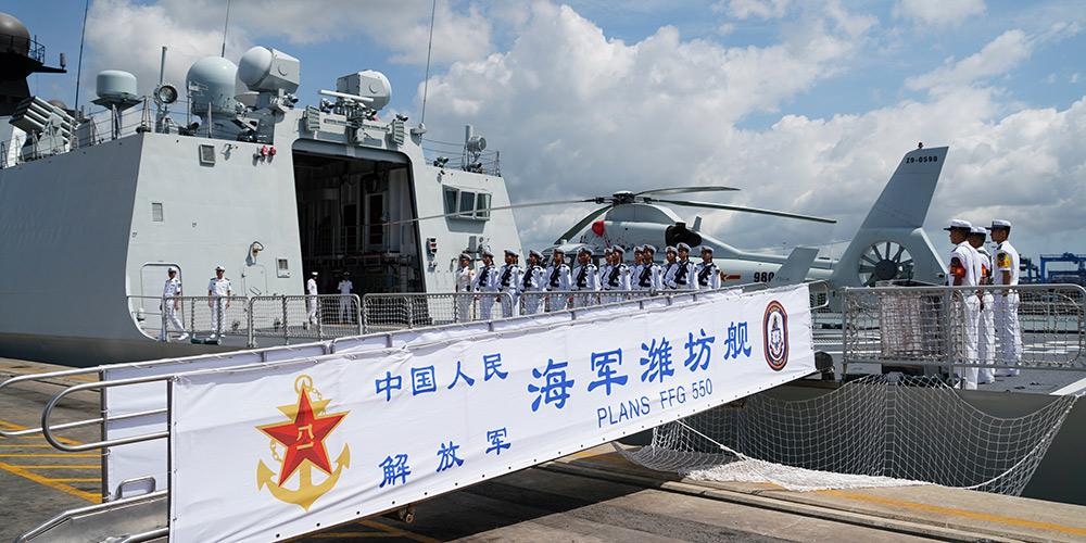 """Navio da Marinha chinesa """"Weifang"""" atraca em porto queniano"""