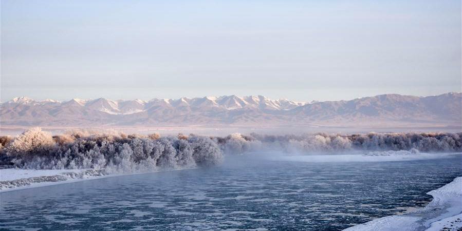 Cenário gelado no parque nacional do pântano do rio Tekes em Xinjiang