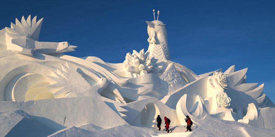 32ª Exposição Internacional de Arte de Escultura de Neve de Sun Island em Harbin será aberta ao público
