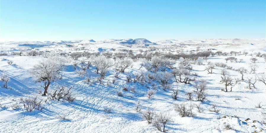 Cenário de neve na Mongólia Interior, norte da China