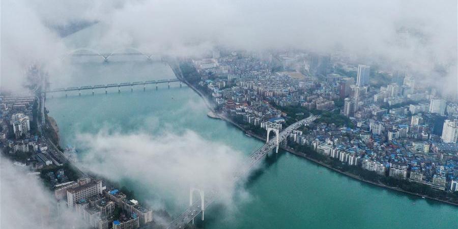 Paisagem de Liuzhou, Guangxi, no sul da China