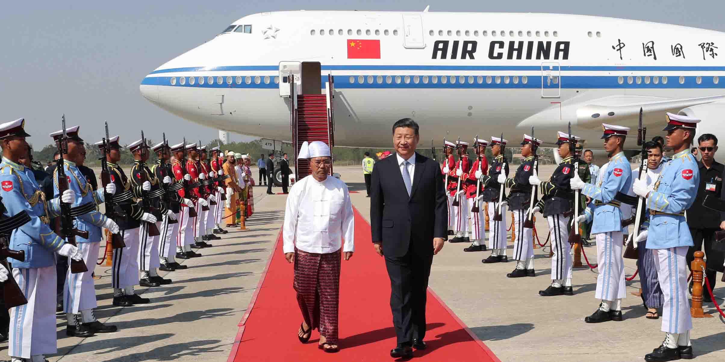 Xi chega a Nay Pyi Taw para visita de Estado a Mianmar