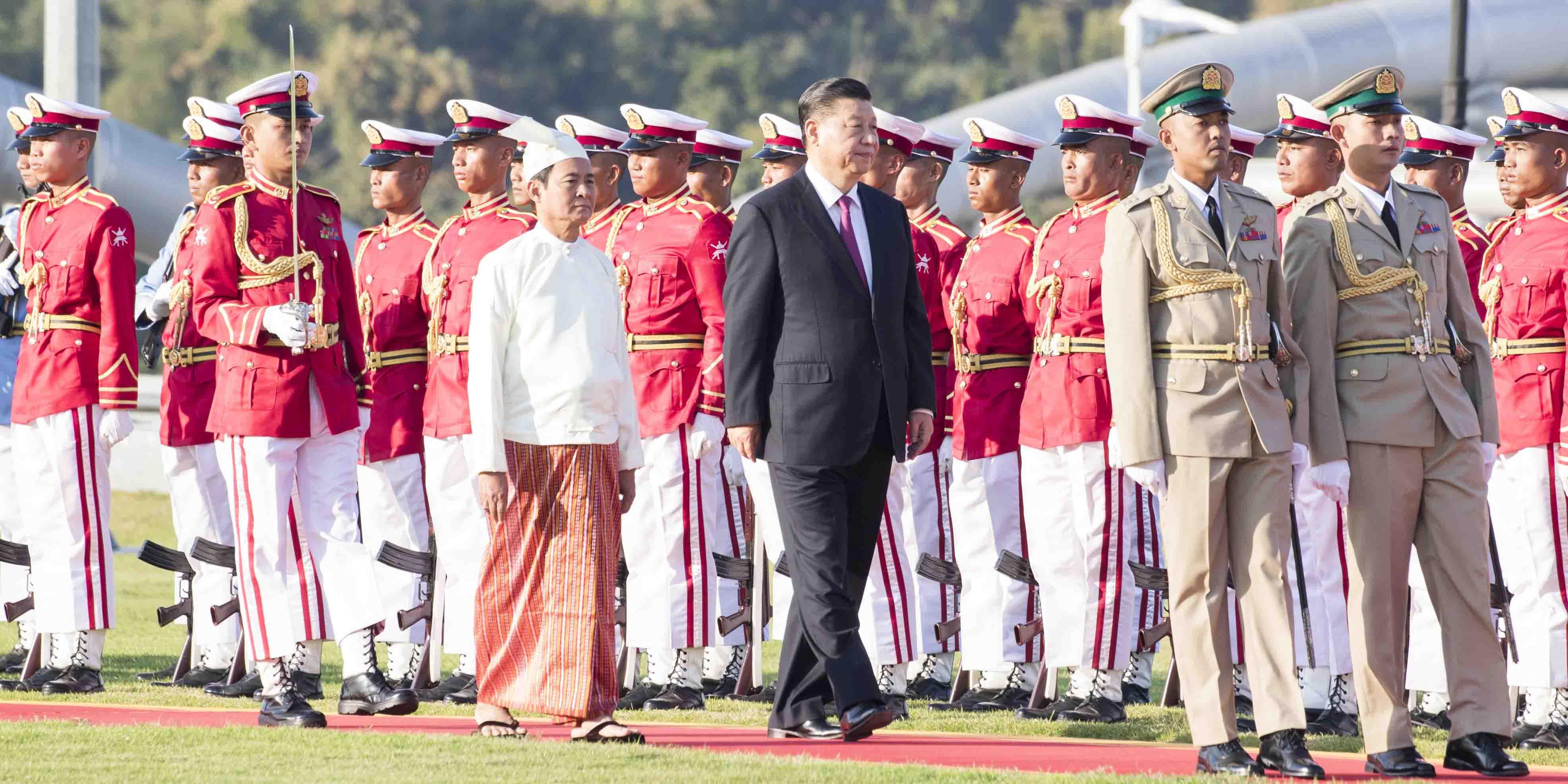 Xi participa do banquete de recepção hospedado pelo presidente de Mianmar