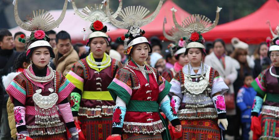 Aldeões participam da celebração de lusheng no distrito de Danzhai, sudoeste da China