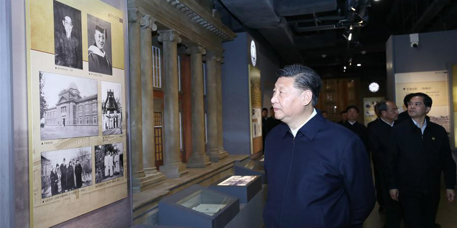 Xi visita campus de antiga universidade durante a guerra