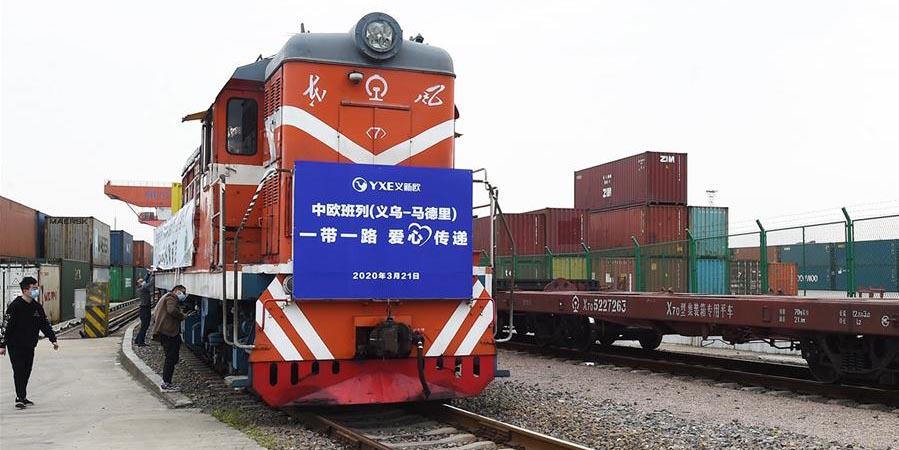 Trem de carga China-Europa envia suprimentos antivírus para a Espanha