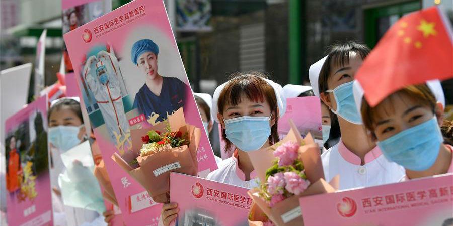 Membros da equipe médica da província de Shaanxi de apoio a Hubei voltam para casa após 14 dias quarentena