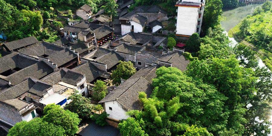 Cenário da antiga vila de Hong'an em Xiushan, Município de Chongqing