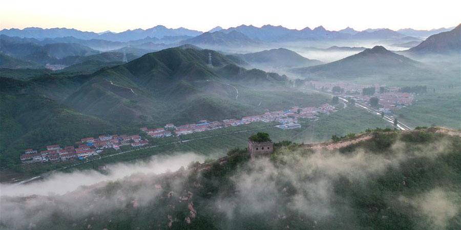 Vista aérea da Grande Muralha em Hebei