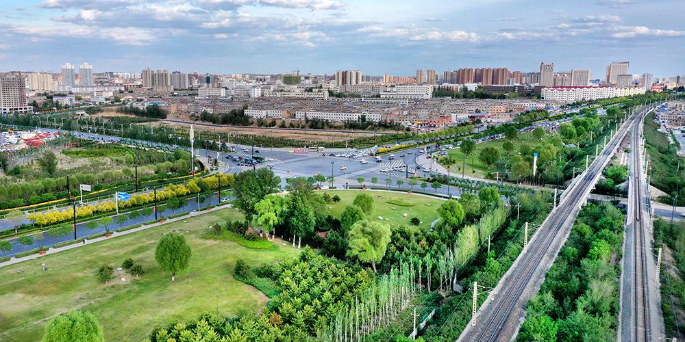 Vista aérea de Yulin, cidade nacional de floresta