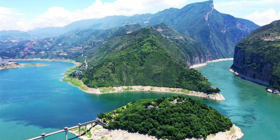 Vista aérea da Garganta Qutang em Chongqing