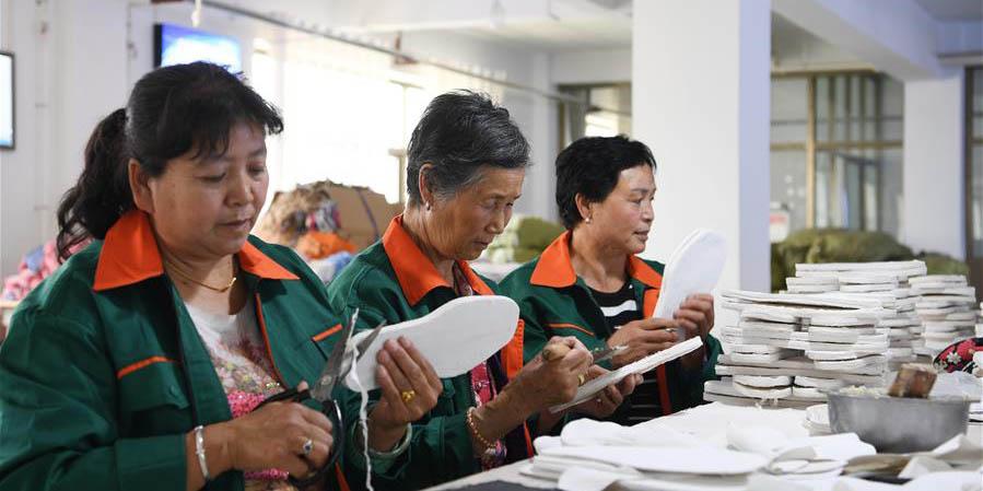 Oficinas de alívio da pobreza aumentam a renda familiar dos locais em Gansu