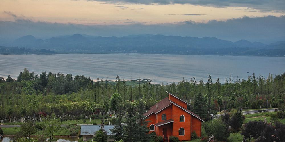 Paisagem do lago Caohai em Guizhou