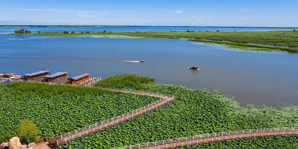 Melhora o ambiente ecológico do lago Chagan em Jilin