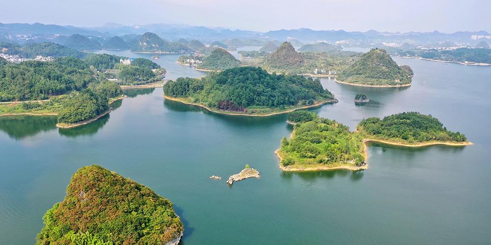 Paisagem do lago Baihua em Guiyang