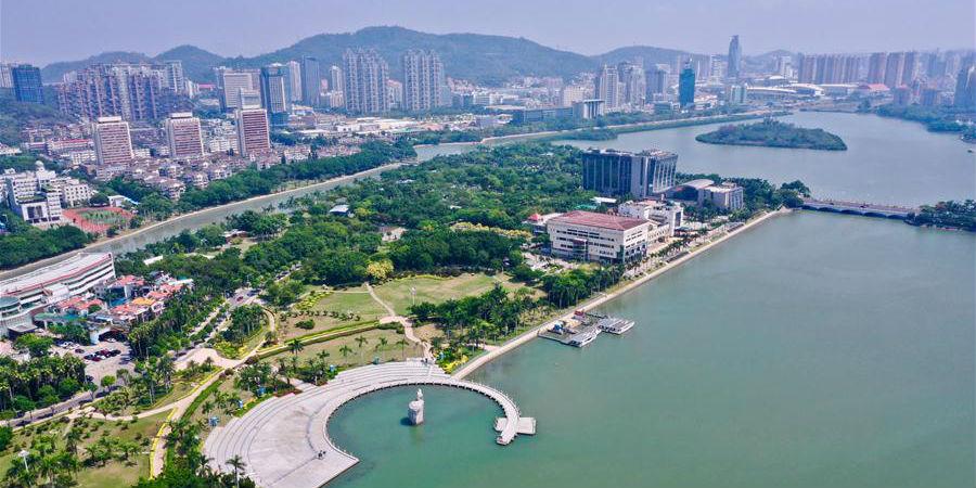 Vista do lago Yundang em Xiamen, Fujian