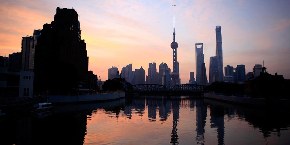 Paisagem da zona Bund em Shanghai