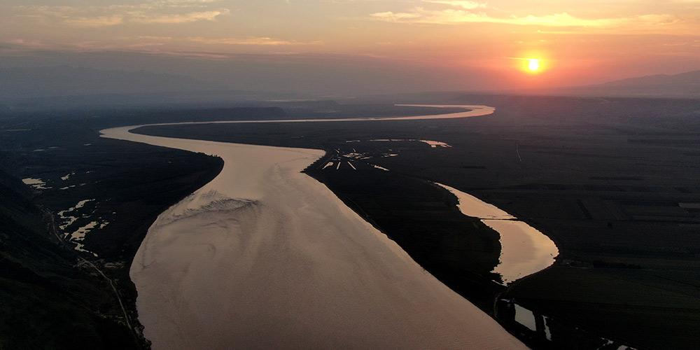 Paisagem do rio Amarelo no centro da China