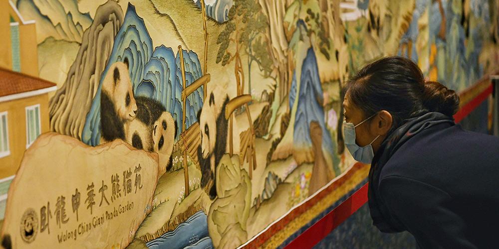 Visitantes apreciam obras de Thangka com imagens de pandas na Biblioteca Provincial de Sichuan