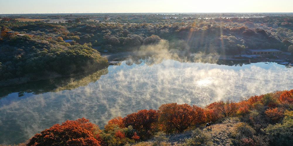 Paisagem de outono da reserva nacional de Daqinggou na Mongólia Interior