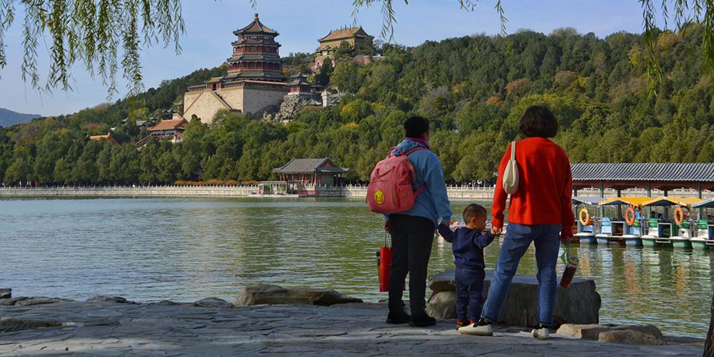 Paisagem de outono do Palácio de Verão em Beijing