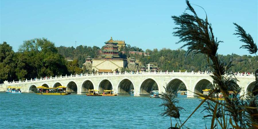 Paisagem do início de inverno do Palácio de Verão em Beijing