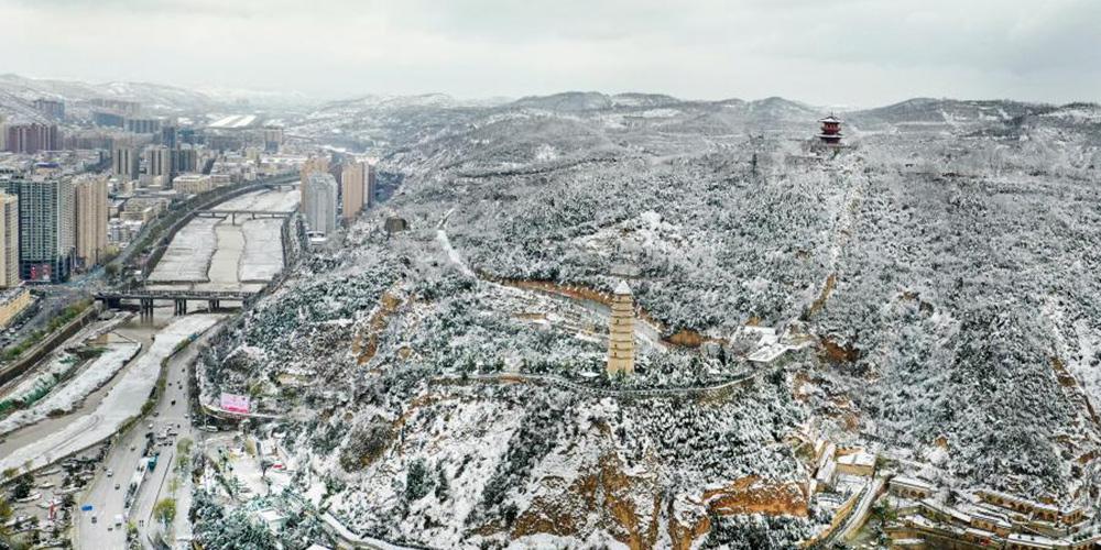 Paisagem de neve em Yan'an, província de Shaanxi