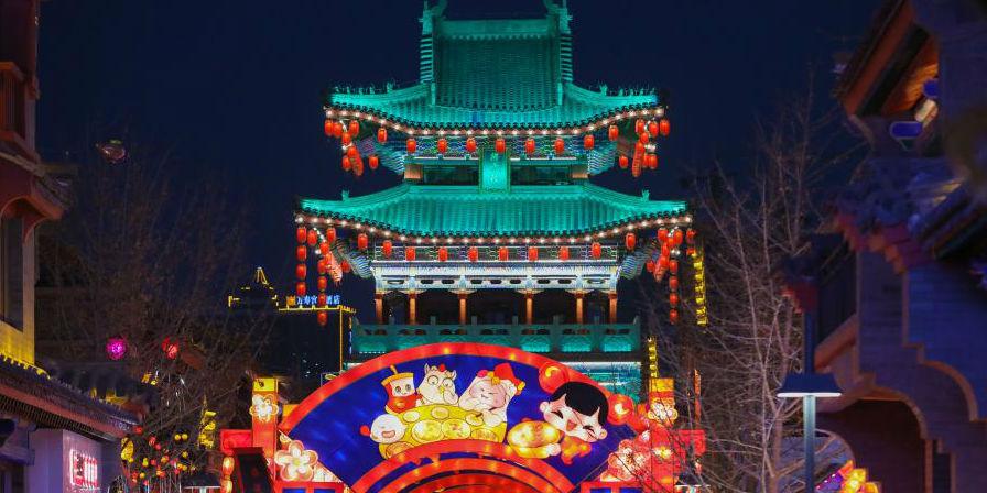 Fotos: decorações de luzes na área da rua antiga no distrito de Qilihe de Lanzhou