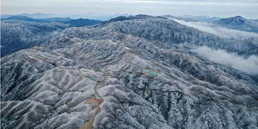 Paisagem de neve em Rongshui, província de Guangxi