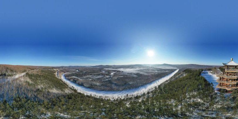 Cenário de inverno do ponto turístico na cidade de Mohe, província de Heilongjiang