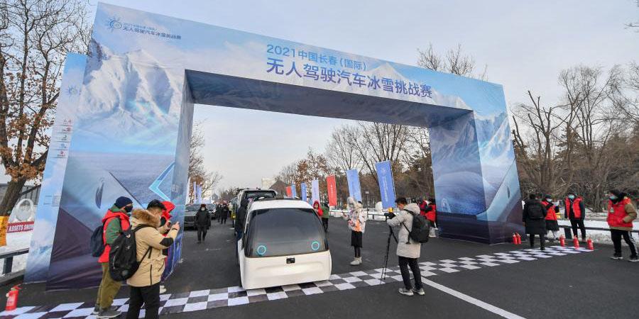 Competição de desafio de inverno de veículos sem motoristas é realizada em Changchun