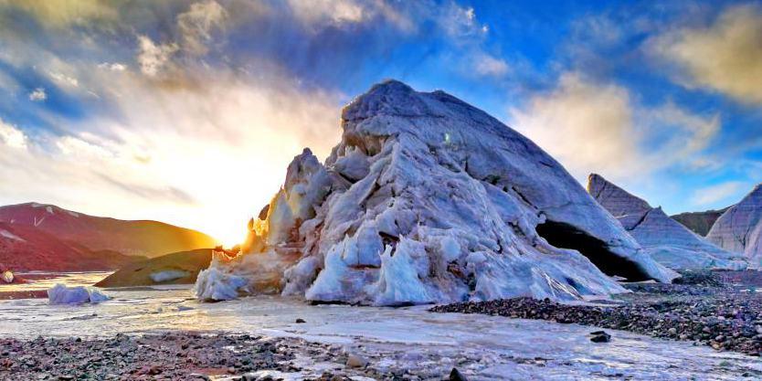 Paisagem da geleira Purog Kangri no Tibet