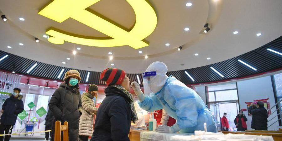 Profissionais de saúde coletam amostras de ácido nucléico em Shijiazhuang