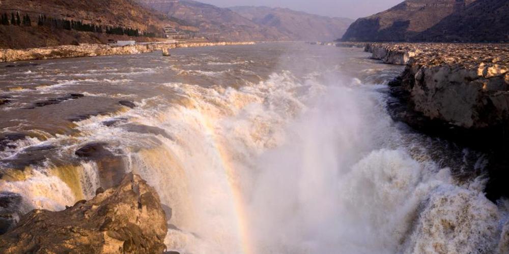 Paisagem da cachoeira Hukou na província de Shaanxi